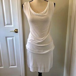 BCBG white draped neck mini dress, S